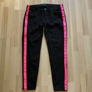 Hudson Loulou Tuxedo Black & Pink Jeans 30